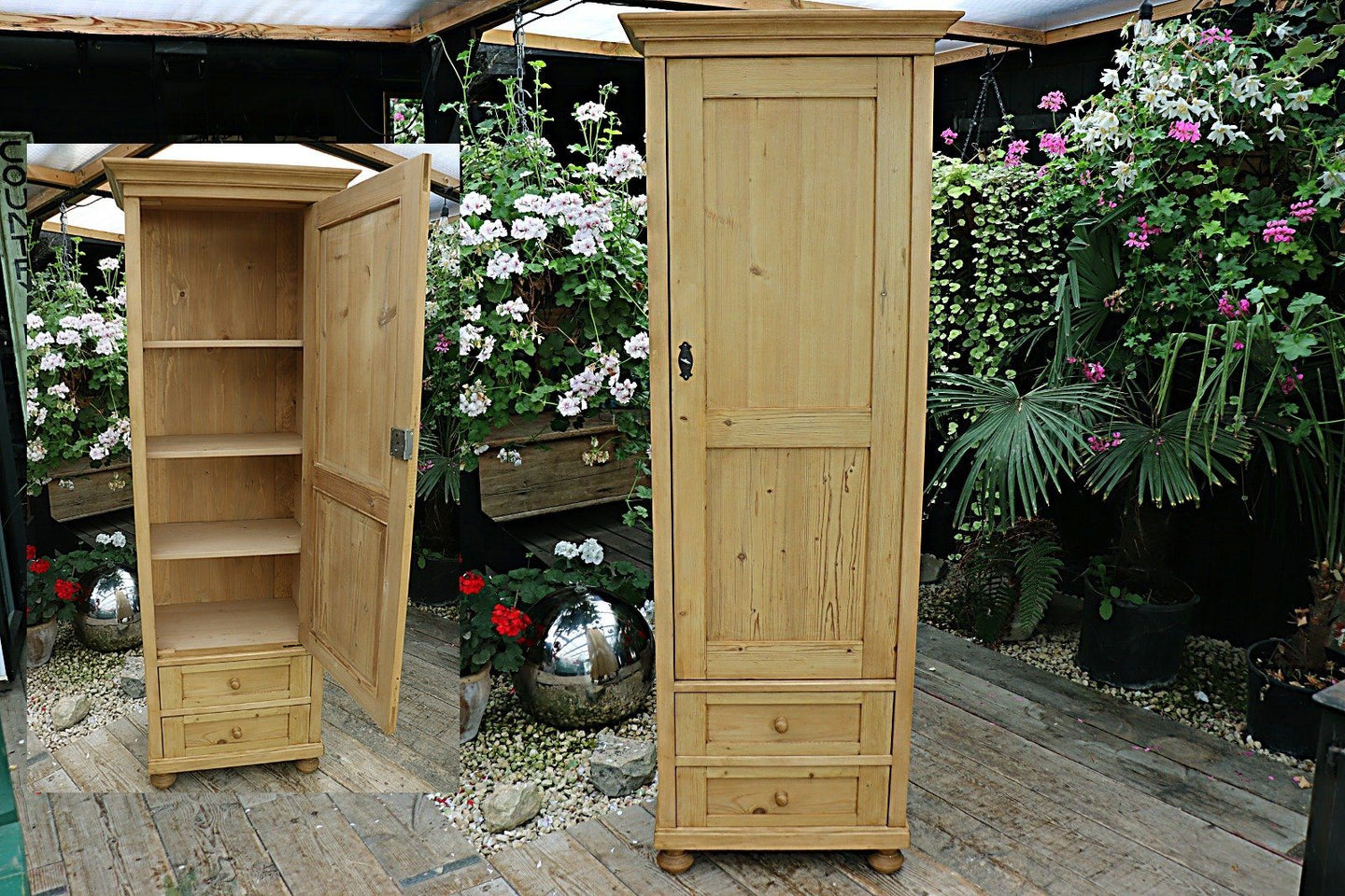 😍  OLD/ RECLAIMED PINE NARROW CABINET/ CUPBOARD/ WARDROBE - oldpineshop.co.uk