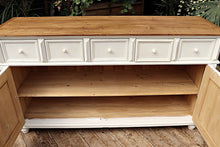 BEAUTIFUL, BIG OLD STYLE WHITE PAINTED PINE SIDEBOARD/CUPBOARD 💕 - oldpineshop.co.uk