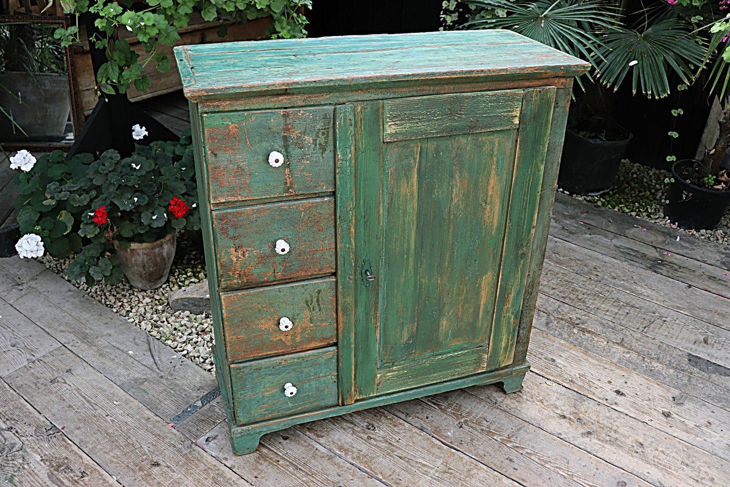 ❤️  FAB! OLD PINE/ GREEN PAINTED CABINET/ FOOD CUPBOARD/ SIDEBOARD - oldpineshop.co.uk