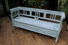 😍 OLD STYLE PINE/ PAINTED PALE BLUE/ GREEN STORAGE BOX BENCH/SETTLE - oldpineshop.co.uk