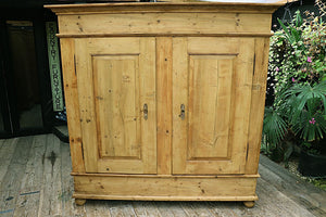 BIG OLD!! 18th CENTURY! PINE DOUBLE KNOCK DOWN WARDROBE/HALL CUPBOARD ❤️ - oldpineshop.co.uk
