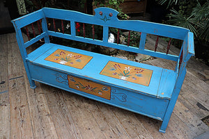 GORGEOUS! OLD PINE/ BLUE/ HAND DECORATED 'FOLK ART' 'HUNGARIAN' BENCH 💕 - oldpineshop.co.uk