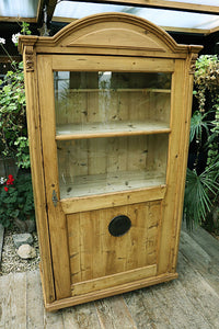 FABULOUS OLD VICTORIAN PINE & GLAZED DISPLAY CABINET/ CUPBOARD 💕 - oldpineshop.co.uk