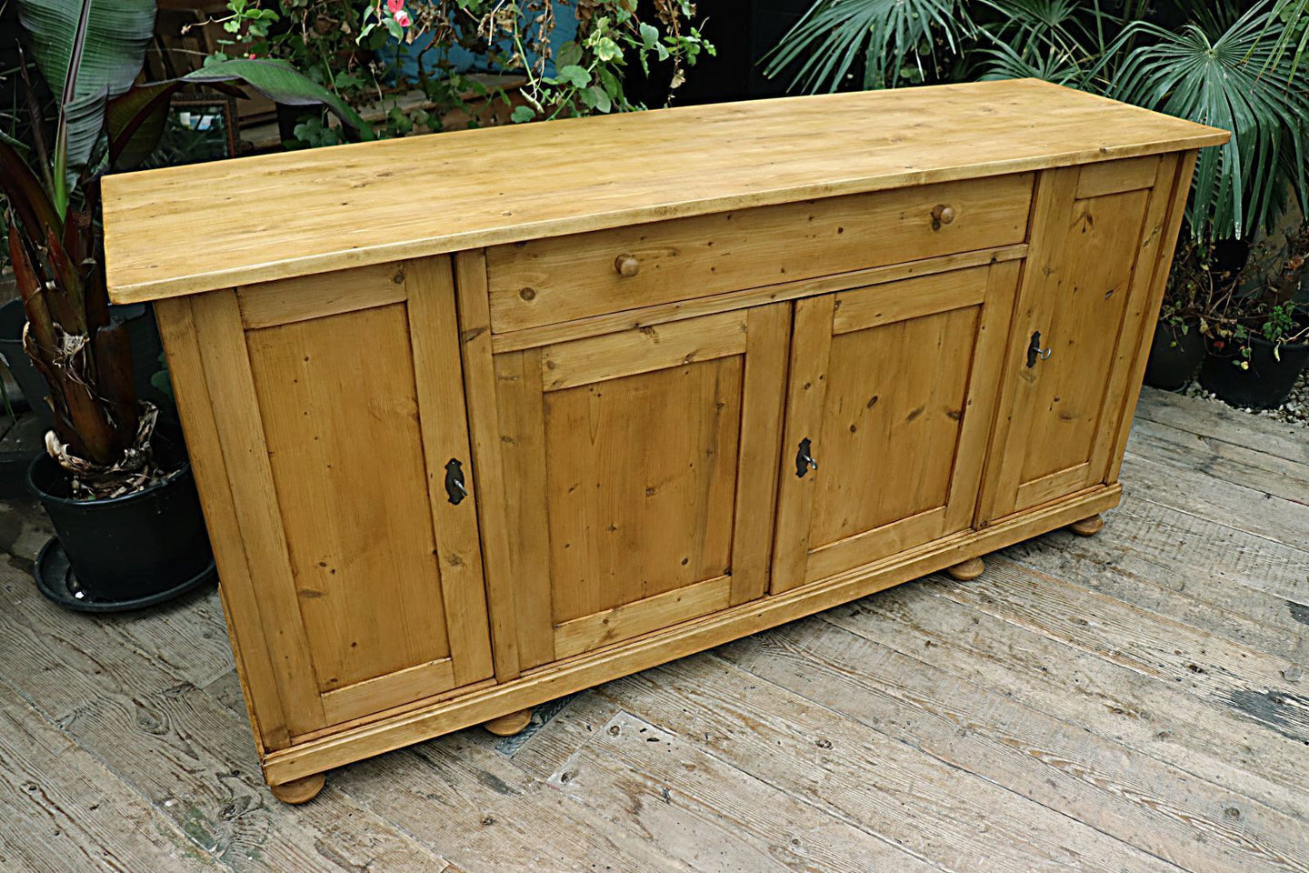 ❤️  BIG! OLD 2m STRIPPED PINE DRESSER BASE/SIDEBOARD/CUPBOARD/TV STAND  😀 - oldpineshop.co.uk