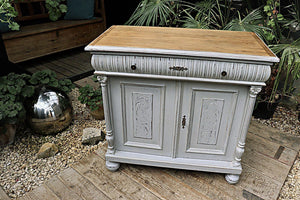 A BEAUTIFUL OLD PINE/OAK GREY PAINTED CARVED SIDEBOARD/ CUPBOARD  ❤️ - oldpineshop.co.uk