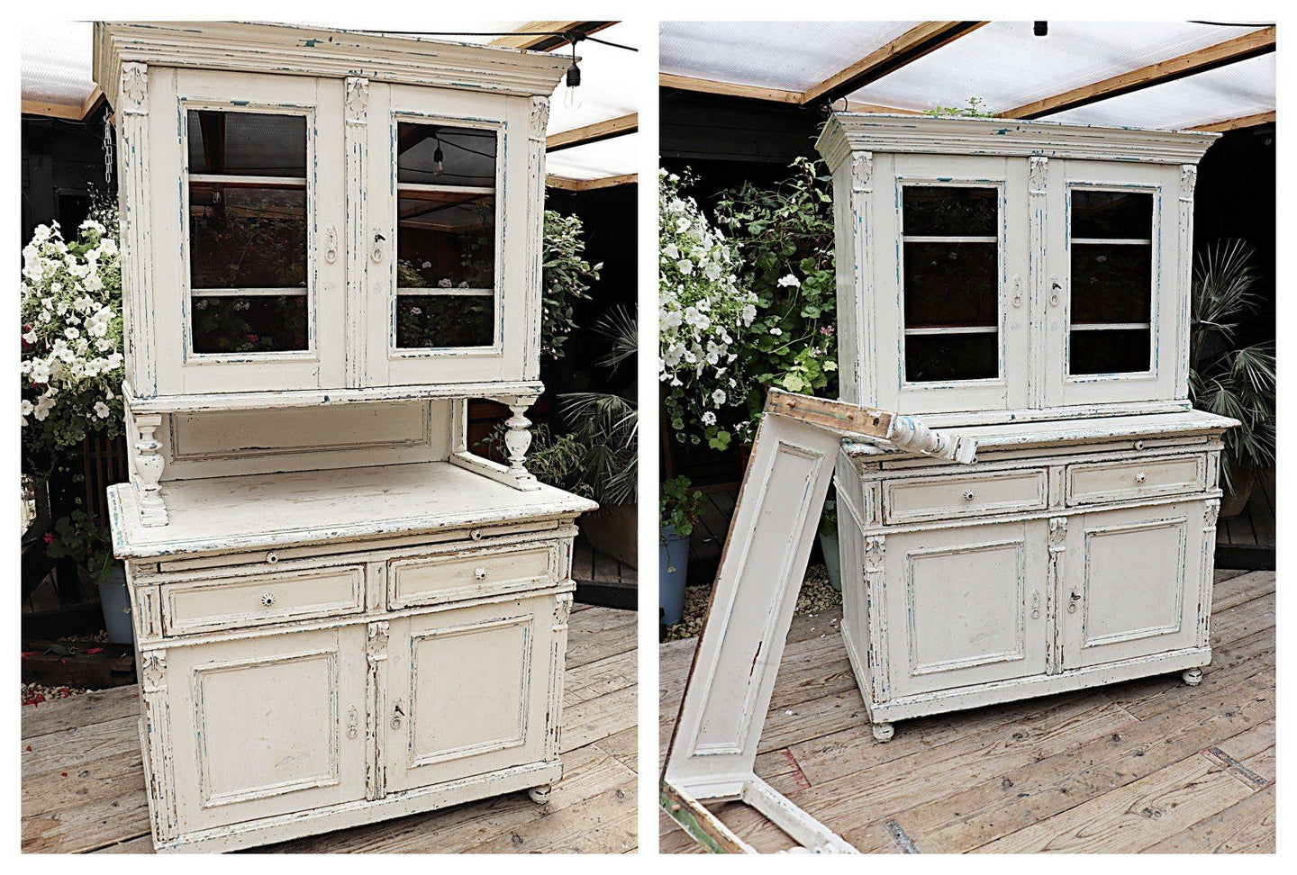 💕 FABULOUS OLD VICTORIAN 2 PIECE PINE/WHITE PAINTED DRESSER/ CUPBOARD 💕 - oldpineshop.co.uk