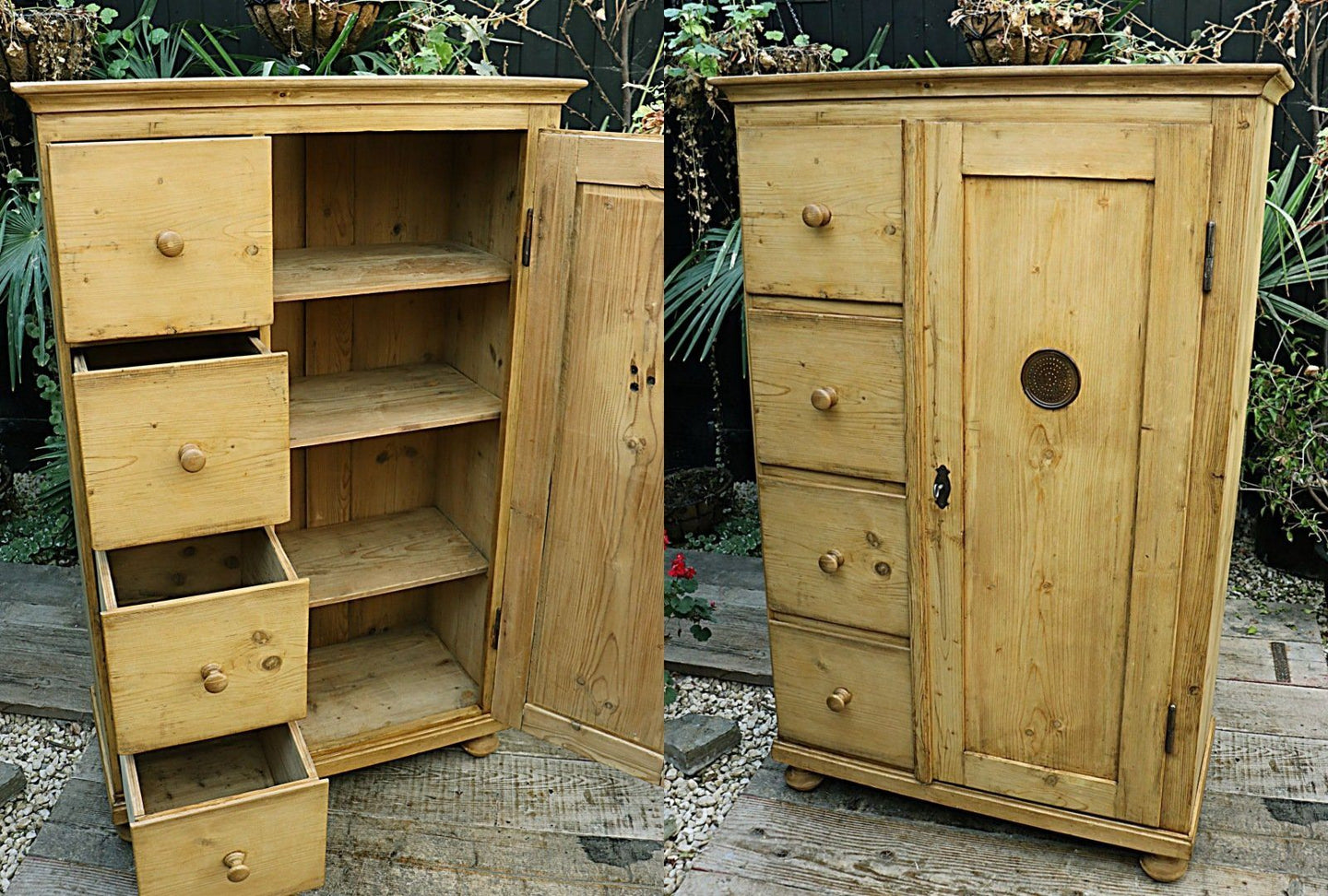 ❤️   LOVELY! OLD PINE FOOD CUPBOARD/  WARDROBE  ❤️ - oldpineshop.co.uk