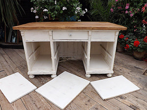 LARGE OLD PINE/ WHITE PAINTED KITCHEN ISLAND/DESK/DRESSING TABLE - oldpineshop.co.uk