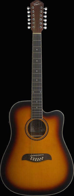 Oscar Schmidt OD312-CE-TS Acoustic-Electric 12-String Cutaway Tobacco Sunburst Guitar