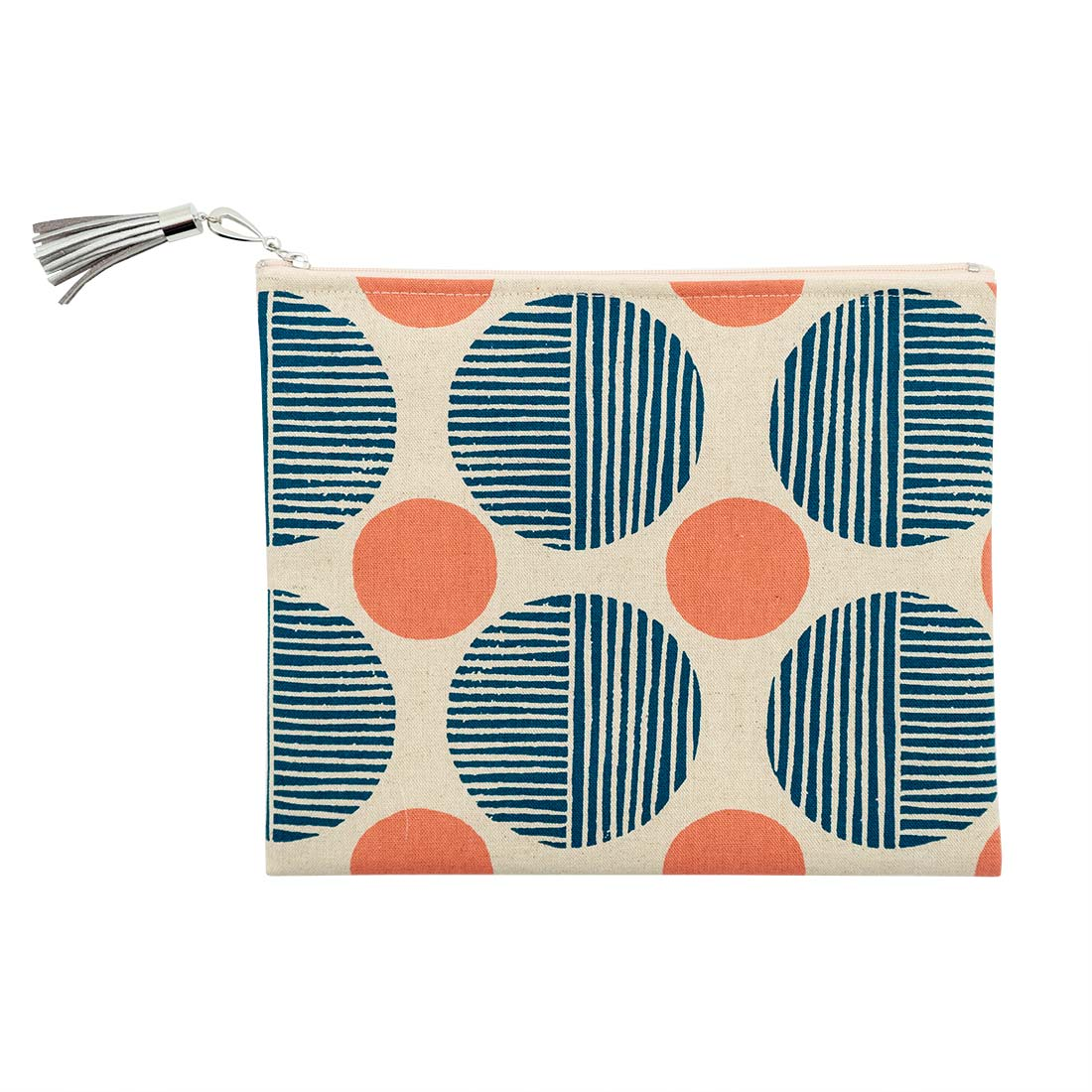 Navy and Mauve Polka Dot Pouch