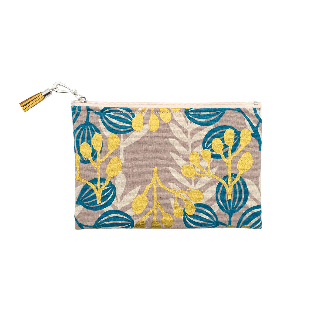 Navy and Gold Leaves Canvas Wallet