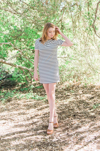 The Black and White Striped Shirt Dress
