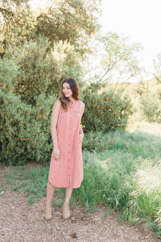 The Jane Midi Dress in Rose