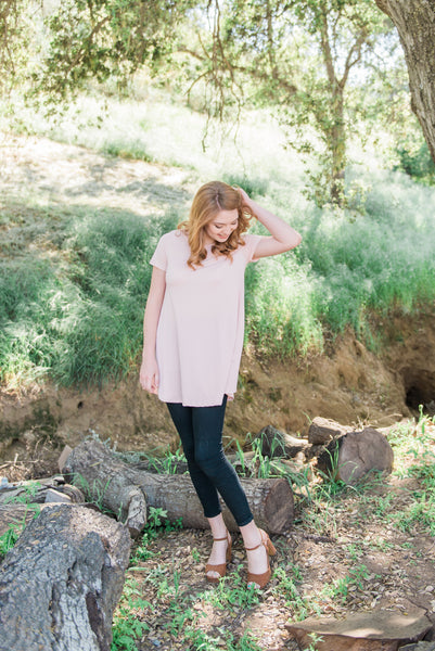 The Button Back Tunic in Pink
