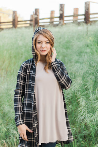 The Plaid Hooded Cardigan