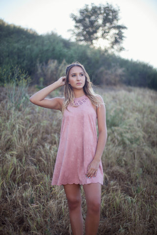 The Suede Neckline Detail Dress