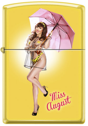 Calendar Girl Claire Sinclair Zippo Lighter Miss August Pinup