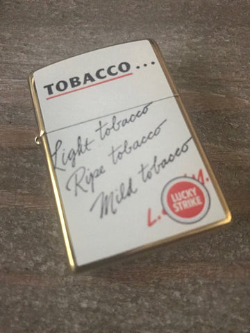 Lucky Strike Brass Two Sided Zippo Lighter Cigarette Pack Design