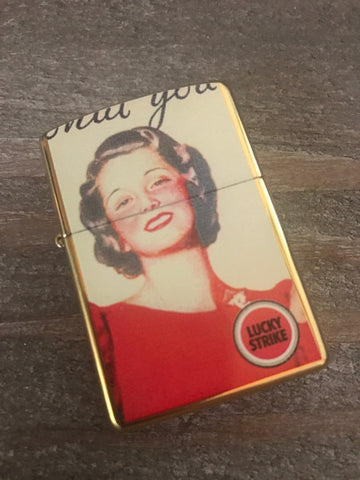 Lucky Strike Brass Two Sided Zippo Lighter Retro Ad