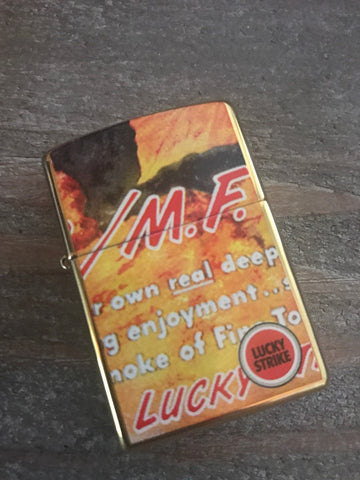 Lucky Strike Brass Two Sided Zippo Lighter Tobacco Farmer