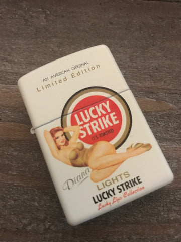 Lucky Strike Lights Diana Pinup Girl Zippo Lighter