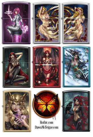 Set of Eight Dawn McTeigue Fantasy Zippo Lighters