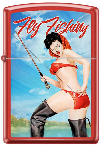 Vintage Peter Driben Pinup Girl Zippo Lighter Fly Fishing