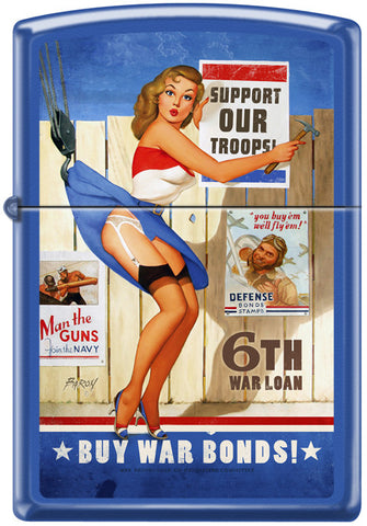 Baron Von Lind Pinup Girl Support Our Troops Zippo Lighter