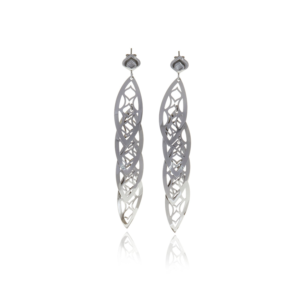 Gold 4 Leaf Chandelier Line Earring - Georgina Jewelry