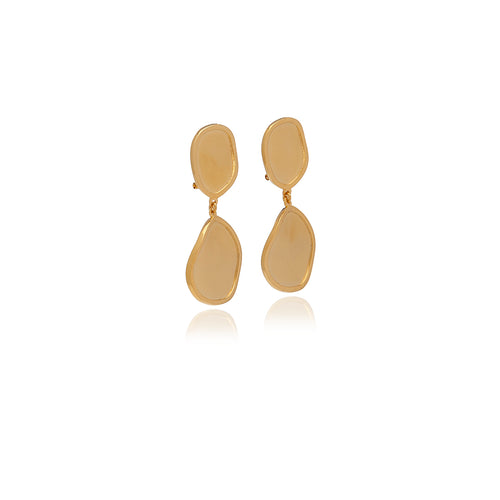 Gold Foil Long Earrings - Georgina Jewelry