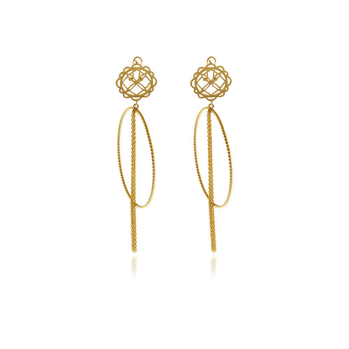 Runway Gold Hoops Flower Earrings - MCK Brands