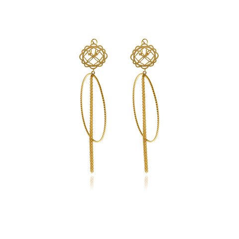 Signature Rectangle Gold Earrings