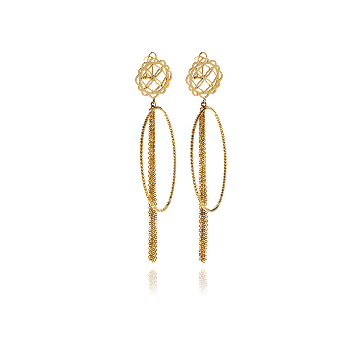 Runway Hoops Flower Earrings - Georgina Jewelry