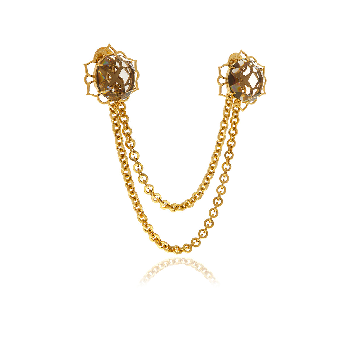 ERA Double Gold Chain Crystal Men's Brooch