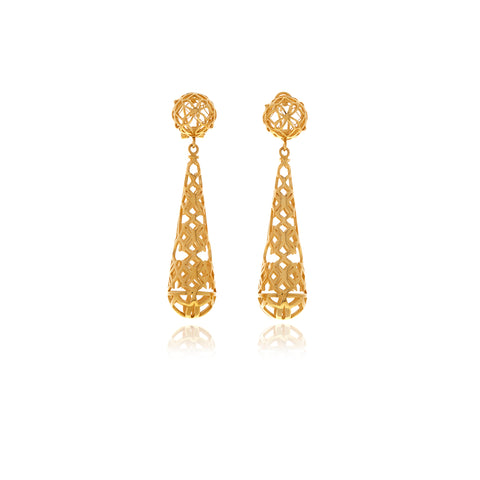 Les Racines Gold Orange Ceramic Earrings