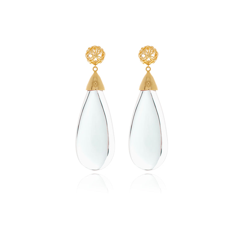 Signature Gold Drop Crystal Earrings - Georgina Jewelry