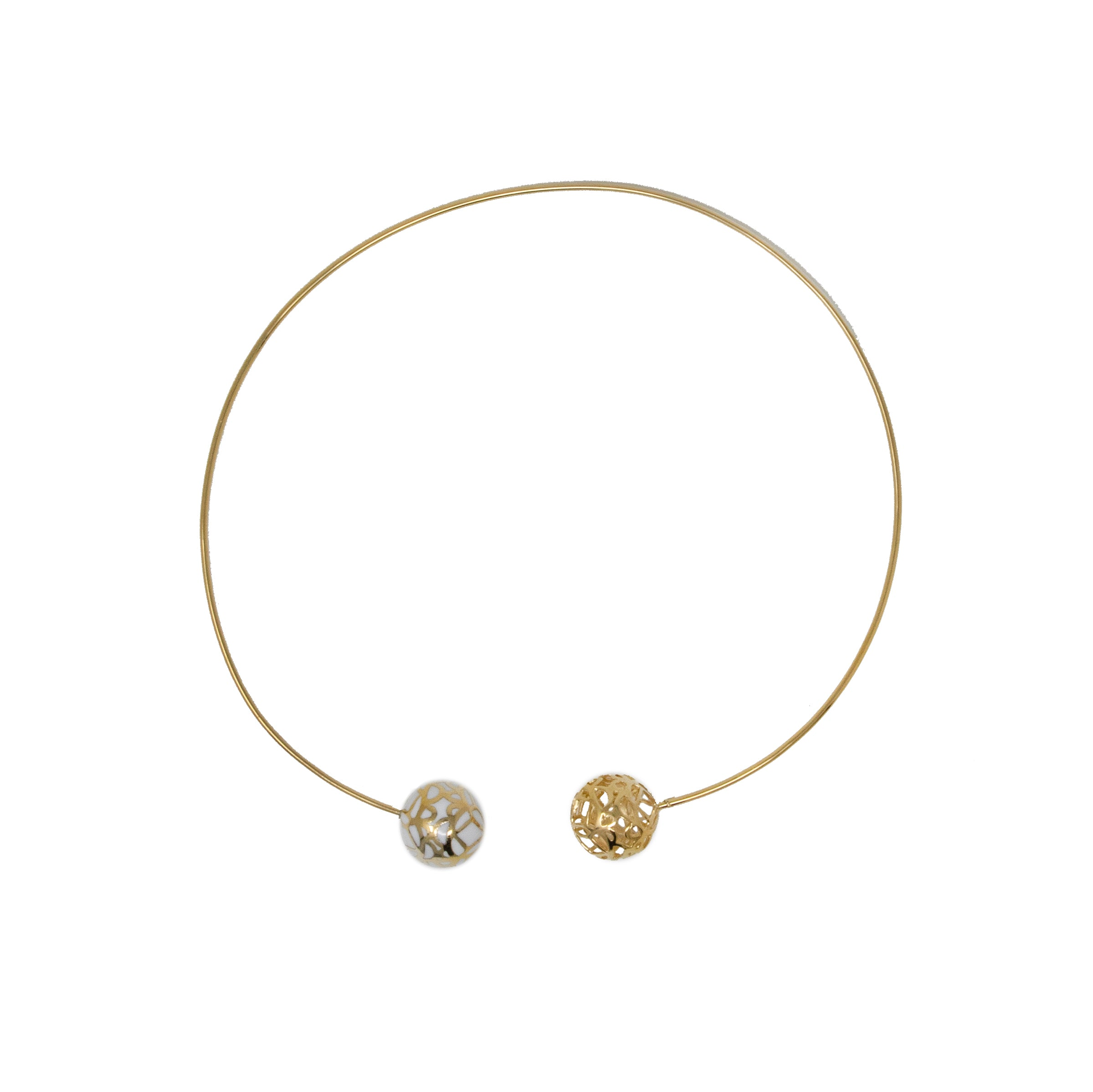 Gold Sphere Resin Choker Necklace