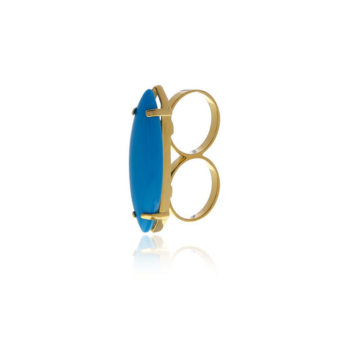 Two Fingers Turquoise  Ring