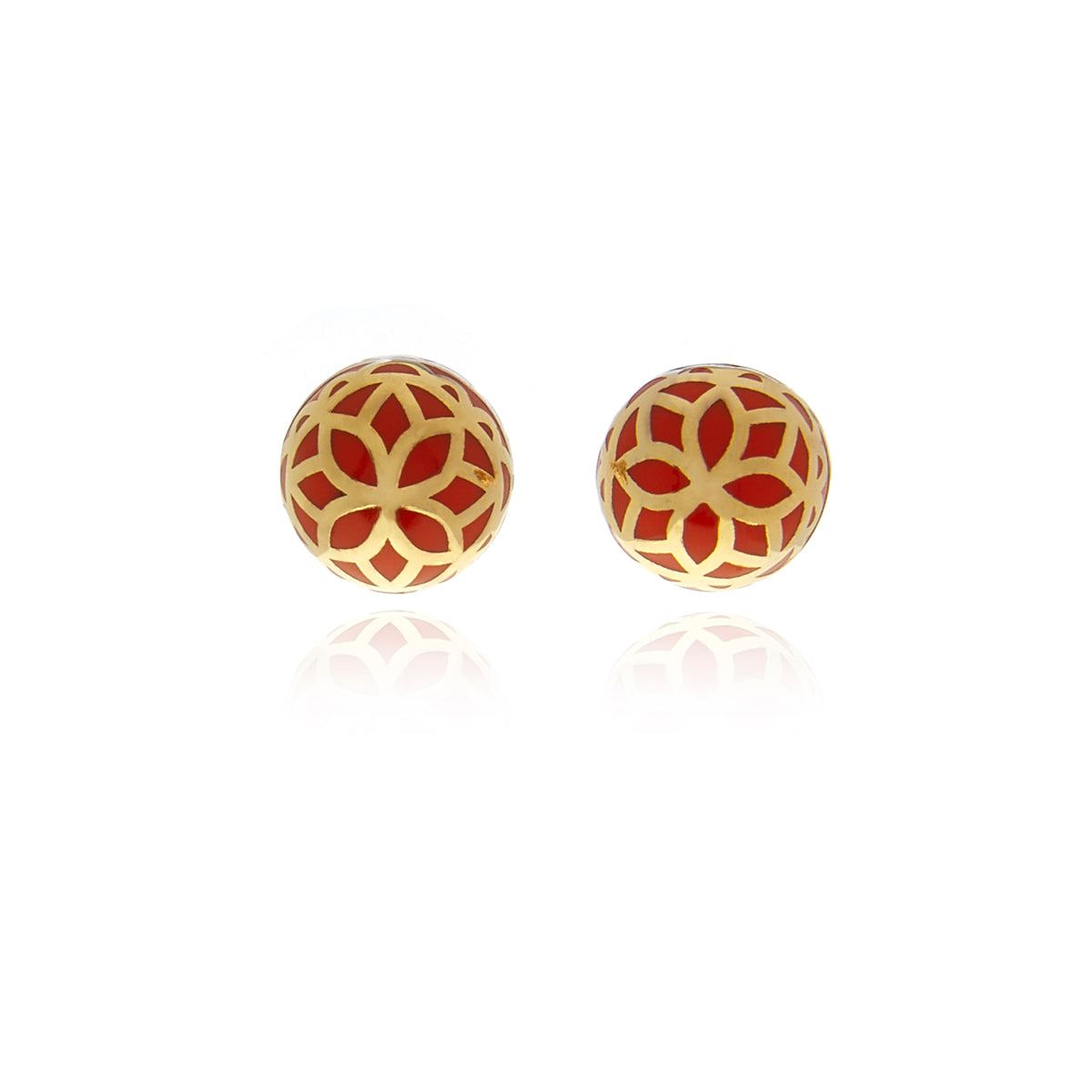 Signature  Gold Flower  Ball Earrings