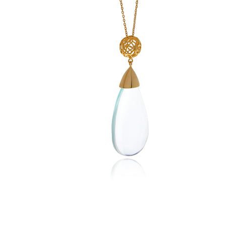 Signature Gold  Drop Crystal Necklace - Georgina Jewelry