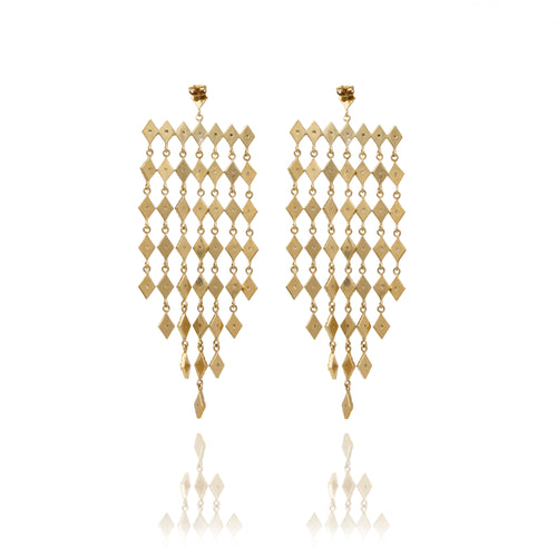 Gold Chandelier Diamond Statement Earrings