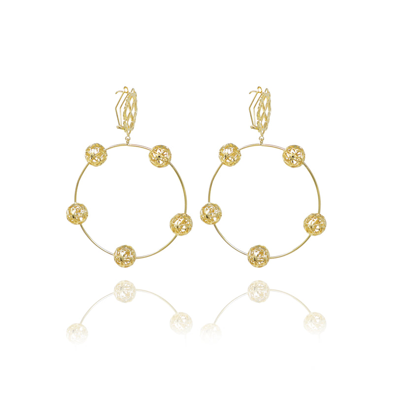 Gold Flower Sphere Hoops