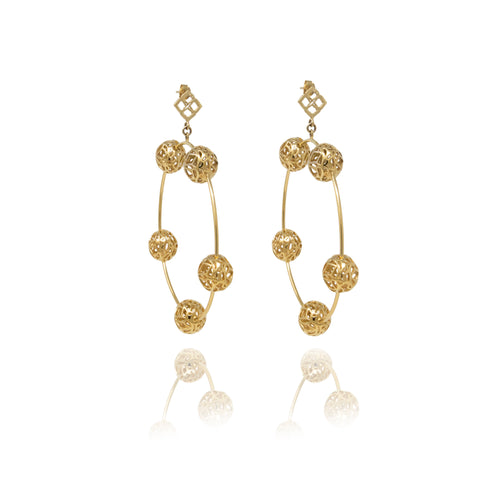 Gold Signature Sphere Dangle Hoops