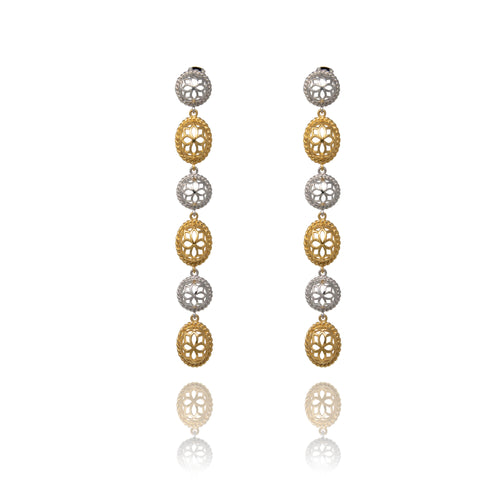 Two Tone Signature Long  Earrings - Georgina Jewelry