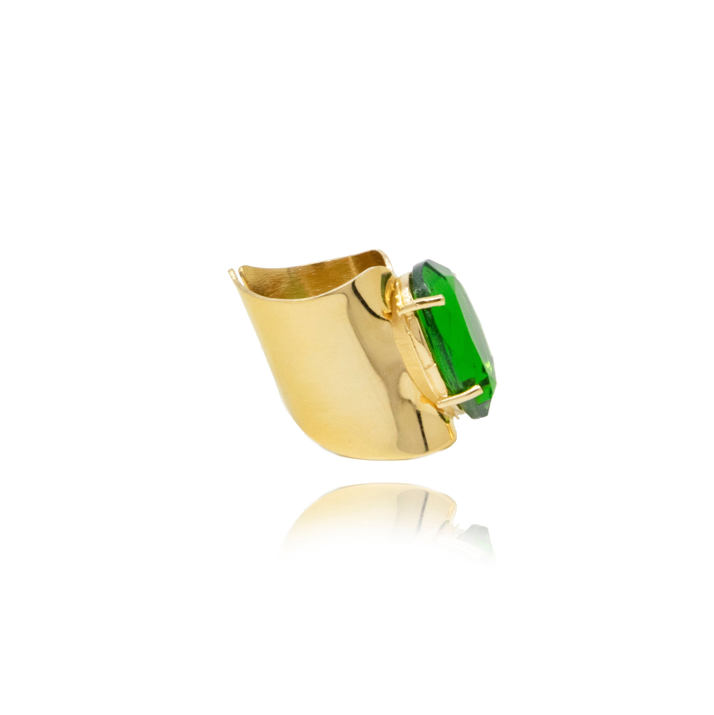 Gold Emerald Crystal Ring