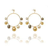 Gold Sphere Dangle Hoops with Natural Stone