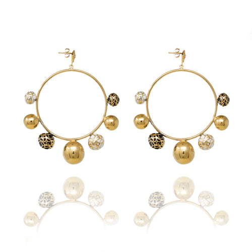 Gold Sphere Hoops with Natural Stone