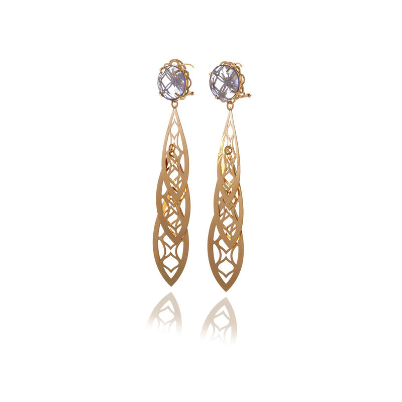 Signature Crystal Three Leaf Earrings - Georgina Jewelry