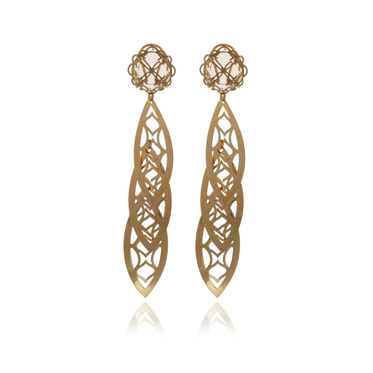 Signature Gold Crystal leaf earrings