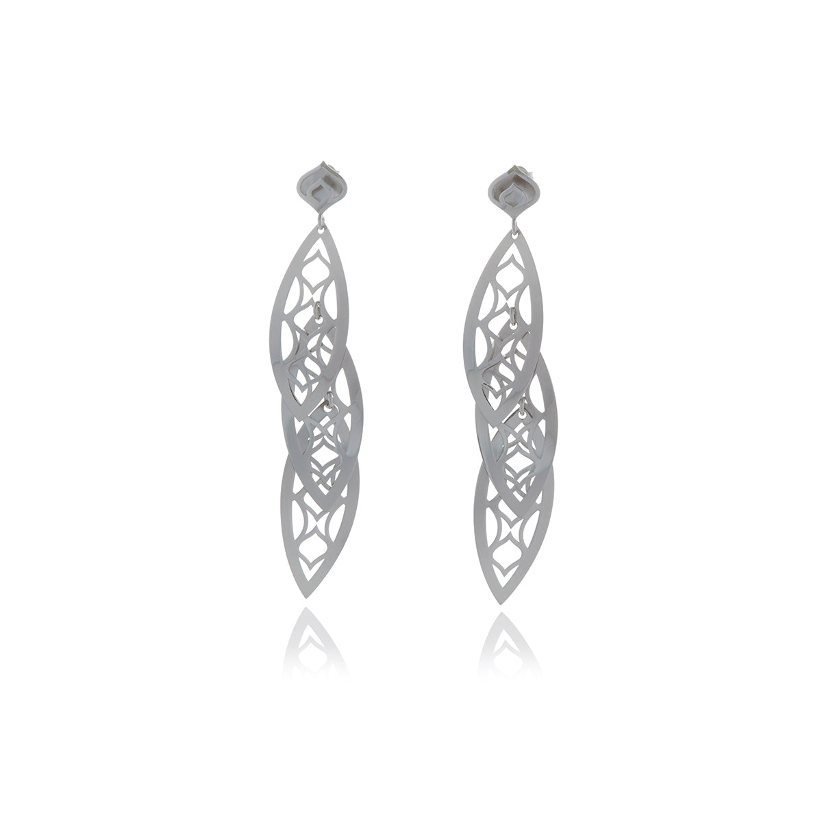 Gold 3 Leaf Chandelier Line Earring - Georgina Jewelry